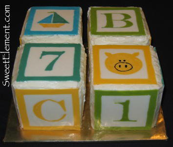 Baby Block Baby Shower Cake View 1