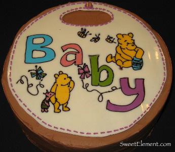 Winnie the Pooh Bib Baby Shower Cake