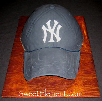 Yankees Baseball Hat Cake (Front View)