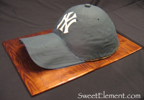 Yankees Baseball Hat Cake Side View