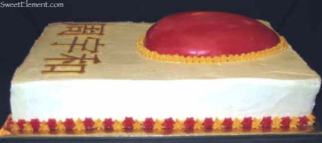 Red Egg Cake Side View