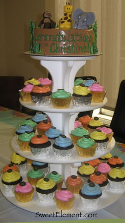 Jungle Baby Shower Cake II w/ Cupcake Tower