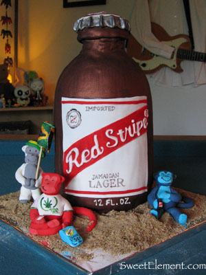 Red Stripe Beer Cake with Monkeys