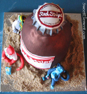 Red Stripe Cake (Top View)
