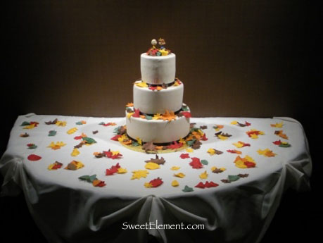Fall Leaves Wedding Cake Table