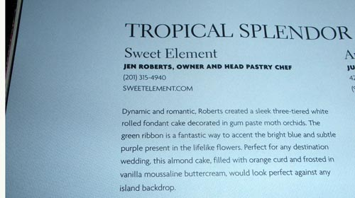 Close up of the cake description - - and Sweet Element in Print!!!
