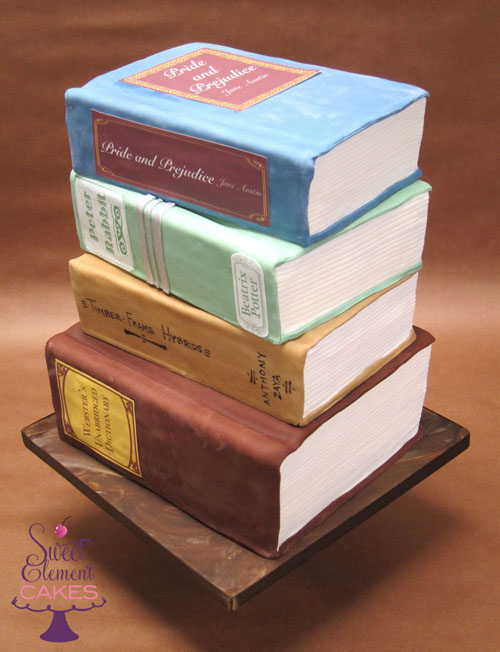 Cake Decorated Like Books : Stacked Books Birthday Cake SweetElement