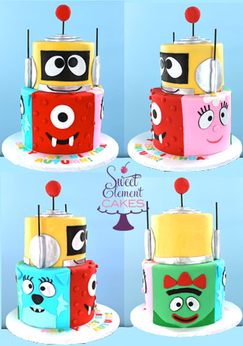 collage_tiered_yo_gabba_gabba_1st_birthday_cake