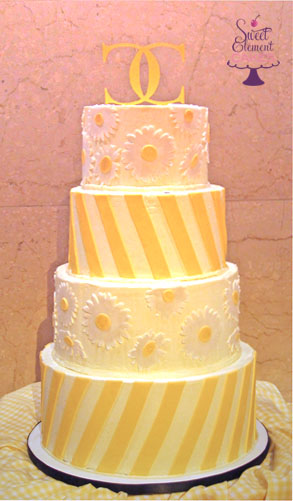 yellow_diagonal_stripe_daisy_buttercream_wedding_cake